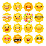 Fun Sun Emojis. Cartoon Sun Emojis Set for Your Summer Projects. Isolated on white background. Clipping paths included Stock Image