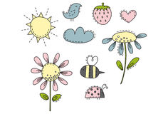 Fun in the sun Illustrations. Cute summer Illustrations. Easy to change colors Royalty Free Stock Image