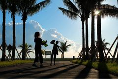 Fun in the sun. Kids on the walk paths of haullover beach in miami Royalty Free Stock Images