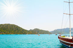 Fun sun and nice yachts in the bay. Stock Photos