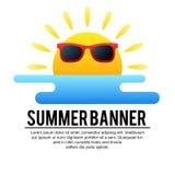 Fun sun and ocean summer banner. Fun sun and ocean summer themed banner Stock Image