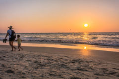 Fun at sunset at kolava beach goa Stock Photography