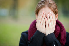 Fun Surprise - Woman Covering Face Royalty Free Stock Photo