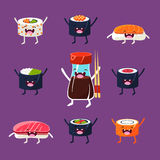 Fun sushi and sashimi. Japanese Food with cute Stock Images