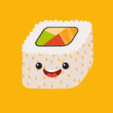 Fun sushi vector cartoon character. Cute sushi roll. Japanese food. Sushi with cute faces. Happy sushi characters. Vector sushi ic Stock Images