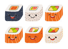 Fun sushi vector. Cute sushi with cute faces. Sushi roll set. Happy sushi characters. Sushi roll funny set. Japanese food, vector illustration set  on white Royalty Free Stock Photography