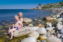 Fun on Swedish beach Royalty Free Stock Images