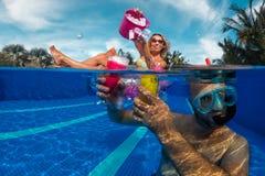 Fun in swimming pool Royalty Free Stock Image