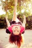 Fun on  swing. Happy teen girl have fun on  swing Stock Photos
