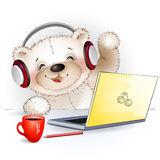 Fun Teddy bear sitting at the computer and says Hello Royalty Free Stock Images