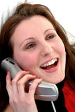 Fun Telephone Call. Female having fun talking on telephone Royalty Free Stock Photo