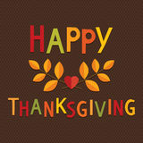 Fun Thanksgiving Card Bright Text Brown Background Stock Photography