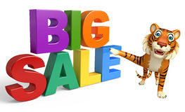 Fun Tiger cartoon character with bigsale sign Royalty Free Stock Image