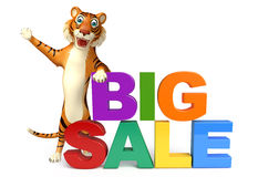 Fun Tiger cartoon character with bigsale sign Stock Images