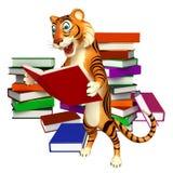 Fun Tiger cartoon character with book. 3d rendered illustration of Tiger cartoon character with book Stock Photo