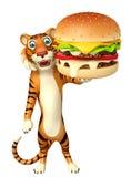 Fun Tiger cartoon character with burger Royalty Free Stock Photography