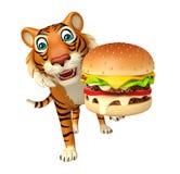 Fun Tiger cartoon character with burger Royalty Free Stock Photos