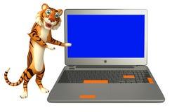 Fun Tiger cartoon character with laptop Stock Photo