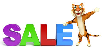 Fun Tiger cartoon character with sale sign Royalty Free Stock Image