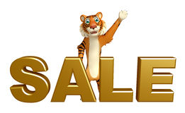 Fun Tiger cartoon character with sale sign Stock Photography