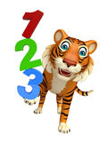 Fun Tiger cartoon character with 123 sign. 3d rendered illustration of Tiger cartoon character with 123 sign stock illustration