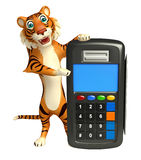 Fun Tiger cartoon character with swipe machine Royalty Free Stock Photos