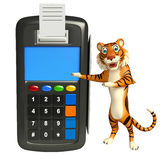 Fun Tiger cartoon character with swipe machine Royalty Free Stock Images