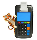 Fun Tiger cartoon character with swipe machine Royalty Free Stock Photo