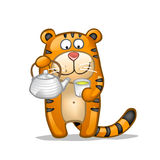 Fun tiger with green tea. Fun tiger with teapot and cup of green tea Royalty Free Stock Photo