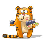 Fun tiger with rolls. Fun tiger with Japanese meal Royalty Free Stock Photography