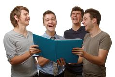 Fun time. Four young people working and having fun time together royalty free stock images