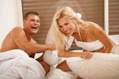 Fun time in the bedroom Royalty Free Stock Image