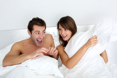 Fun time in bedroom Stock Photography