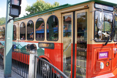 Fun time trolley is a famous tourist public transportation in Gatlinburg, Smoky Mountains, Tennessee, USA. Gatlinburg, Tennessee, USA - October 1, 2014: Fun time stock images