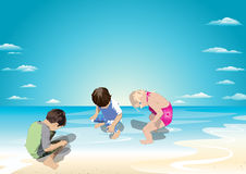 Fun to pee in the water. Three children sitting in the water and urinate and find it fun Royalty Free Stock Photo