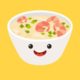 Fun Tom kha kai vector cartoon character. Cute Tom Yum Kung Thai spicy soup's faces with shrimp, japanese food Royalty Free Stock Photo