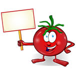 Fun tomato cartoon with signboard Royalty Free Stock Photography