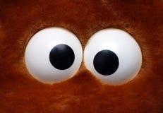 Fun toy eyeballs. Close-up view on fun eyeballs of soft toy Stock Photo