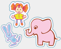 Fun toys in the form of stickers Stock Image