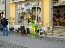 Fun toys and home decor in small souvenir shop, Switzerland royalty free stock photography