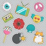 Fun trendy vintage sticker fashion badges. Set of fun trendy vintage sticker fashion badges with eyeball, cute cat, cake pops, love angel emoji, peace sign stock illustration