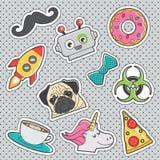 Fun trendy vintage sticker fashion badges Stock Images