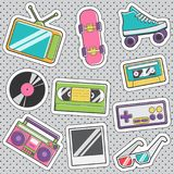 Fun trendy vintage sticker retro fashion badges. Set of fun trendy vintage sticker fashion badges with retro 80s trendy accessories. Vector illustrations for Royalty Free Stock Photos