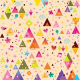 Fun triangles funky cartoon retro pattern royalty free stock images