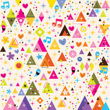 Fun triangles funky cartoon retro pattern Stock Images