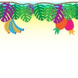 Fun and tribal tropical vine with hanging plams, bananas and pineapples, seamless Stock Photos
