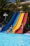 Fun in tropical pool Stock Photos