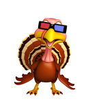 Fun Turkey  cartoon character with 3D gogal Royalty Free Stock Image