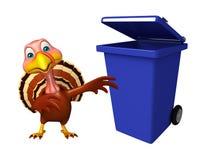 Fun Turkey cartoon character with dustbin Stock Photos