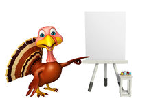 Fun Turkey cartoon character with easel board. 3d rendered illustration of Turkey cartoon character with easel board Stock Photos